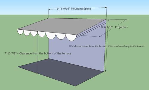 Convex Awnings Drawing Components Of Retractable Terrace Awning